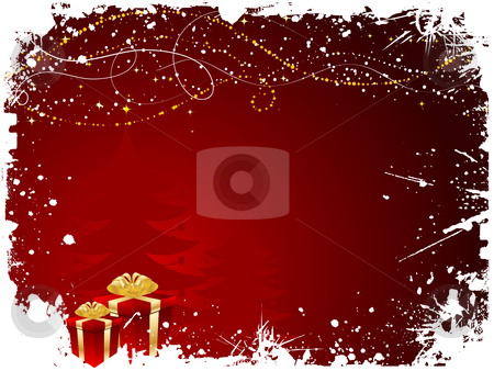 Grunge christmas stock vector clipart, Christmas gifts on grunge style background by Kirsty Pargeter