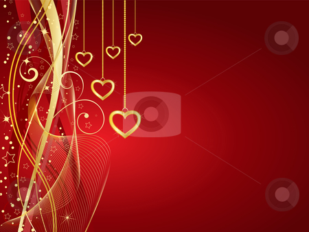 Golden hearts stock vector clipart, Decorative Valentines background with golden hearts by Kirsty Pargeter