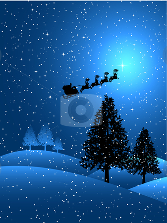 Santa on a snowy night stock vector clipart, Silhouette of santa flying through the sky on a snowy night by Kirsty Pargeter