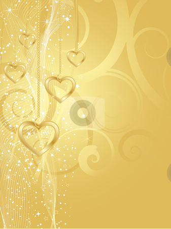 Golden hearts stock vector clipart, Decorative background with golden hearts by Kirsty Pargeter