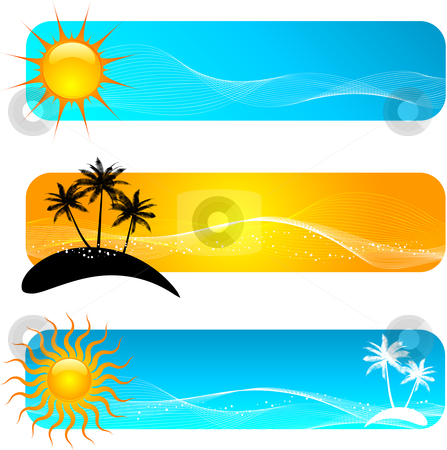Tropical banners stock vector clipart, Various tropical banner designs by Kirsty Pargeter