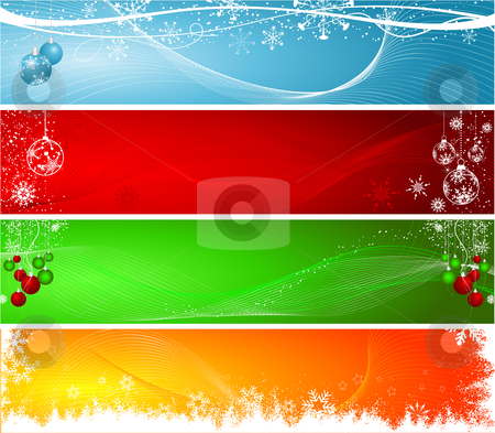 Christmas headers stock vector clipart, Various decorative Christmas backgrounds by Kirsty Pargeter