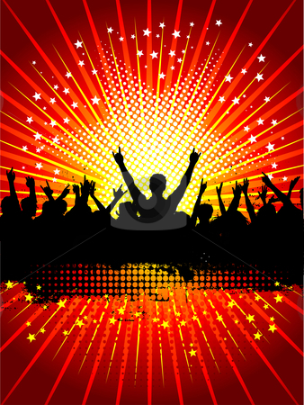 Grunge crowd stock vector clipart, Silhouette of a crowd on a grunge background by Kirsty Pargeter