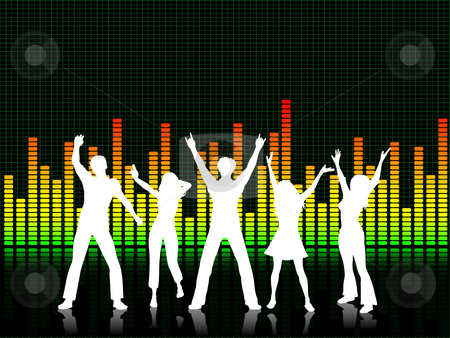 Party people stock vector clipart, Silhouettes of people dancing on graphic equaliser background by Kirsty Pargeter