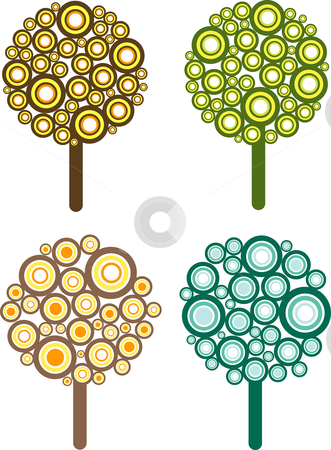 Retro trees stock vector clipart, Retro styled tree illustrations by Kirsty Pargeter