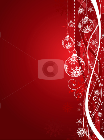 Christmas decorations stock vector clipart, Christmas decorations on decorative background by Kirsty Pargeter