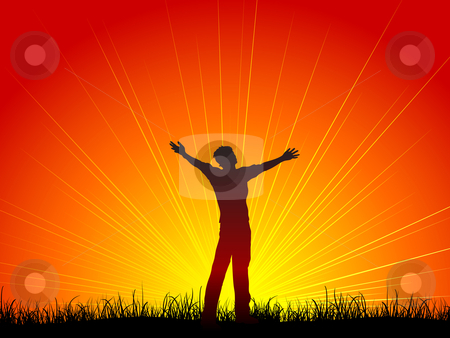Worship stock vector clipart, Silhouette of a man with his arms outstretched in worship by Kirsty Pargeter