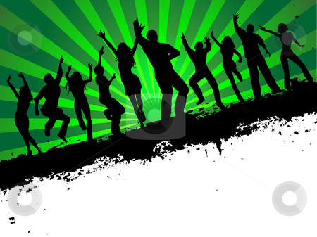 Party time stock vector clipart, Silhouettes of people dancing on grunge background by Kirsty Pargeter