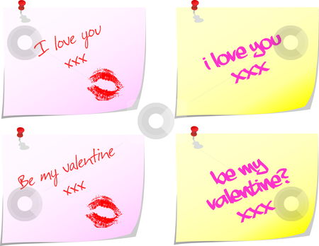 Love notes stock vector clipart, Loving messages written on post-it notes by Kirsty Pargeter
