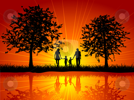Family walking stock vector clipart, Silhouette of a family walking outside under trees by Kirsty Pargeter