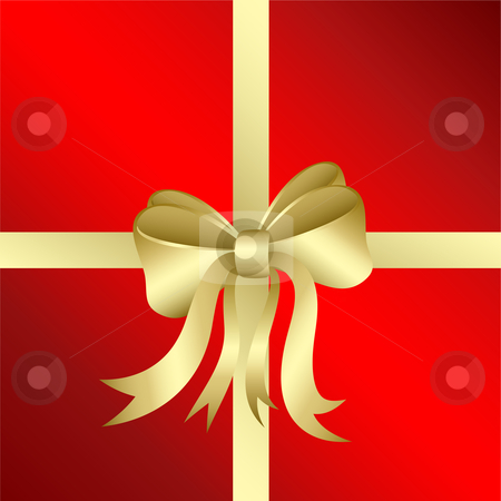 Christmas gift stock vector clipart, Background with gold bow by Kirsty Pargeter