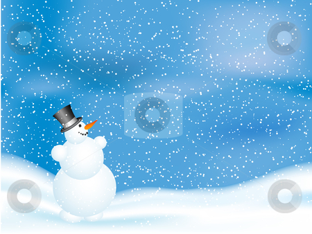 Snowman on snowy night stock vector clipart, Happy snowman on a snowy night by Kirsty Pargeter