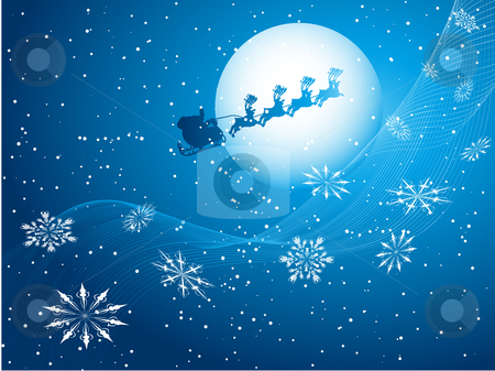 Santa in the sky  stock vector clipart, Silhouette of santa flying through a night sky by Kirsty Pargeter