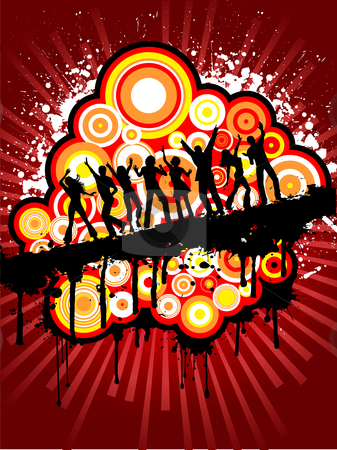 Grunge party crowd stock vector clipart, Silhouettes of people dancing on grunge background by Kirsty Pargeter