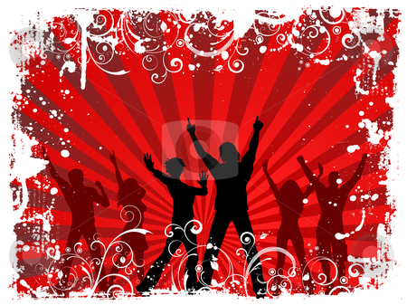 Grunge party stock vector clipart, Silhouettes of people dancing on grunge background by Kirsty Pargeter