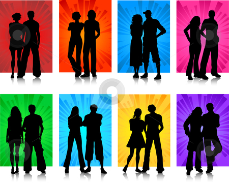 Couples stock vector clipart, Silhouettes of various couples by Kirsty Pargeter