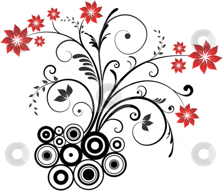 Floral design stock vector clipart, Decorative abstract floral design by Kirsty Pargeter