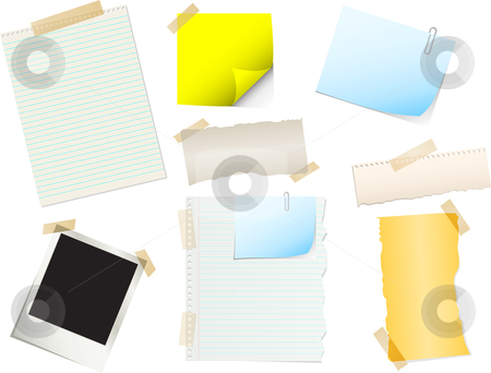 Papers and stickers stock vector clipart, Useful pieces of paper and stickers by Kirsty Pargeter