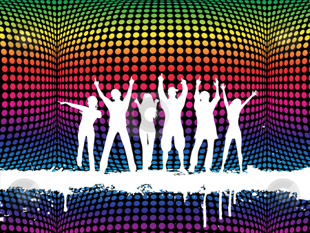 Funky party stock vector clipart, Silhouettes of people dancing on a funky background by Kirsty Pargeter