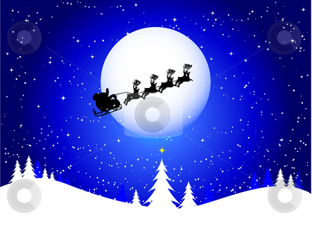 Santa in the sky stock vector clipart, Silhouette of santa flying through the sky by Kirsty Pargeter