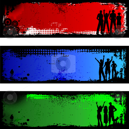 Grunge people backgrounds  stock vector clipart, Silhouettes of people on grunge backgrounds by Kirsty Pargeter