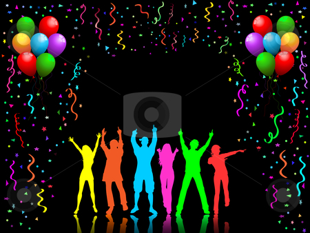 Party people dancing stock vector clipart, People dancing on party background by Kirsty Pargeter