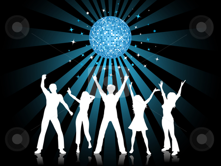 Disco time stock vector clipart, Silhouettes of people dancing by Kirsty Pargeter