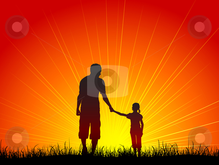 Father and daughter stock vector clipart, Silhouette of a father and his daughter walking by Kirsty Pargeter
