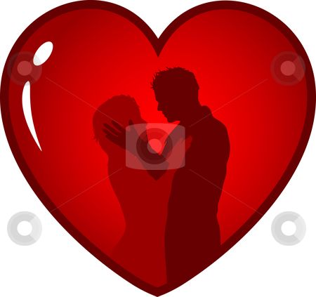 Loving couple stock vector clipart, Silhouette of a loving couple in heart by Kirsty Pargeter