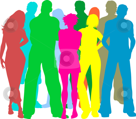 Group of friends stock vector clipart, Colourful silhouettes of people by Kirsty Pargeter