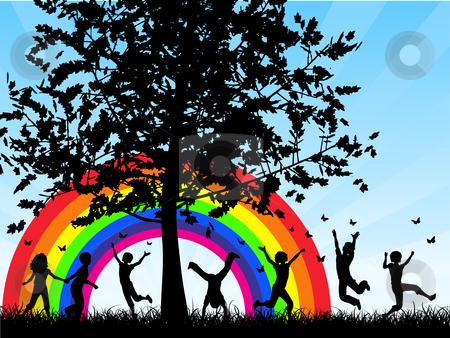 Children chasing butterflies stock vector clipart, Silhouettes of children chasing butterflies by Kirsty Pargeter