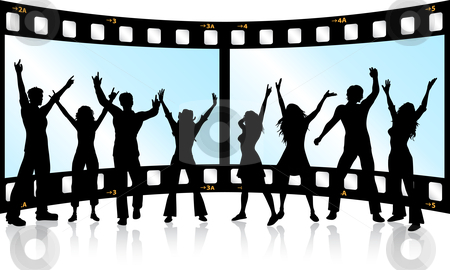 Film strip youth stock vector clipart, Silhouettes of people dancing on film strip background by Kirsty Pargeter