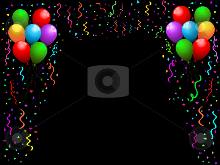 Balloons, streamers and confetti stock vector clipart, Party background of falling confetti, streamers and balloons by Kirsty Pargeter