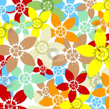 Spring flowers stock vector clipart, Colourful abstract background of spring flowers by Kirsty Pargeter