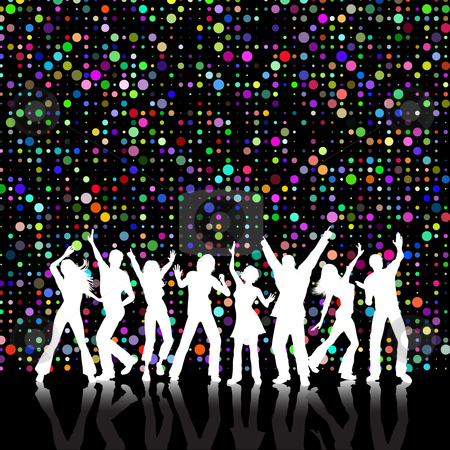 Retro party stock vector clipart, Retro styled colourful background with people dancing by Kirsty Pargeter