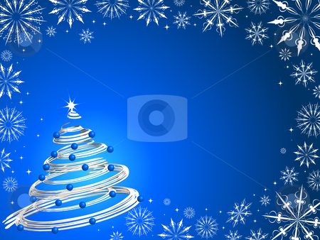 Christmas tree background stock vector clipart, Christmas tree on a snowflake background by Kirsty Pargeter