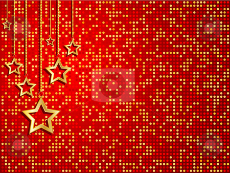Christmas stars stock vector clipart, Hanging Christmas stars by Kirsty Pargeter