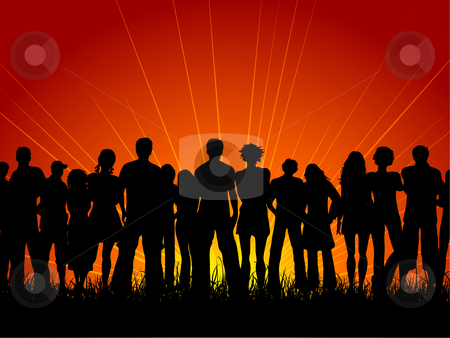 Huge crowd stock vector clipart, Huge crowd of people at sunset by Kirsty Pargeter