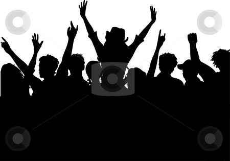 Excited audience stock vector clipart, Silhouette of an excited audience by Kirsty Pargeter