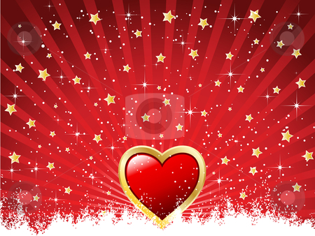 Heartburst stock vector clipart, Valentines background with stars bursting out by Kirsty Pargeter