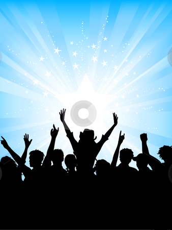 Crowd on starburst background stock vector clipart, Excited crowd on starburst background by Kirsty Pargeter