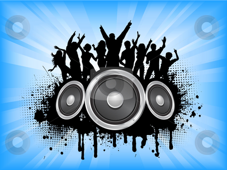 Grunge party stock vector clipart, People dancing on grunge music background by Kirsty Pargeter