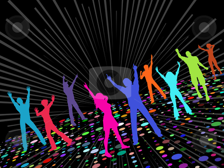 Party people stock vector clipart, Silhouettes of people dancing by Kirsty Pargeter