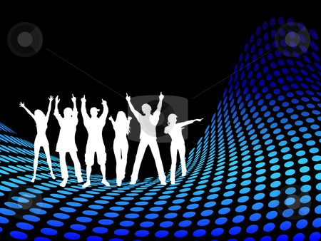 Party people stock vector clipart, Silhouettes of people dancing on halftone wave by Kirsty Pargeter
