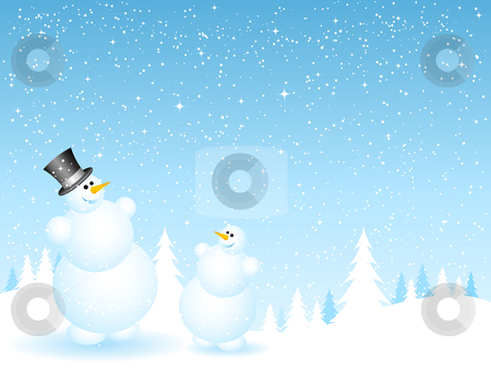 Father and son snowmen stock vector clipart, Happy father and son snowmen on snowy background by Kirsty Pargeter
