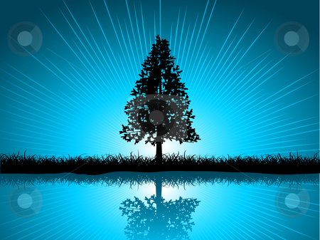 Solitary fir tree stock vector clipart, Silhouette of a solitary fir tree reflected in water by Kirsty Pargeter