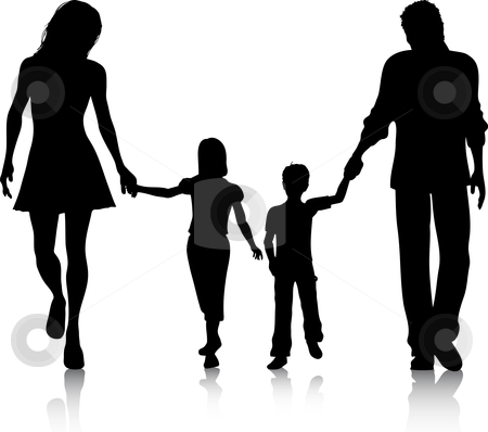 Family walking stock vector clipart, Silhouette of a family walking hand in hand by Kirsty Pargeter