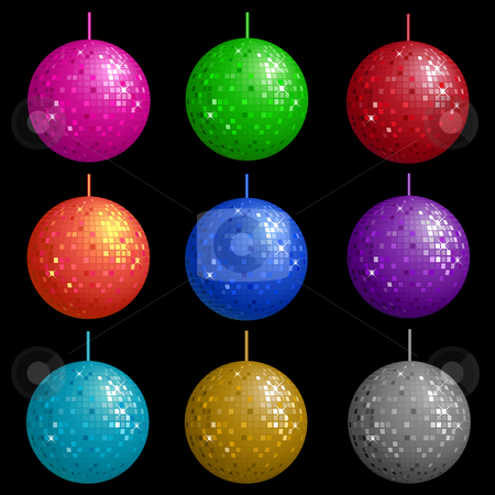 Disco balls  stock vector clipart, Colourful disco balls by Kirsty Pargeter