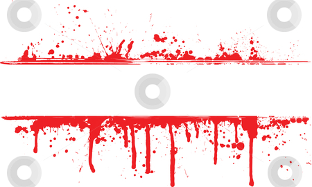 Blood splat border stock vector clipart, Abstract background of splats and drips by Kirsty Pargeter