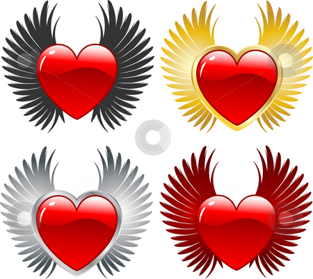 Winged hearts  stock vector clipart, Various designs of hearts with wings by Kirsty Pargeter
